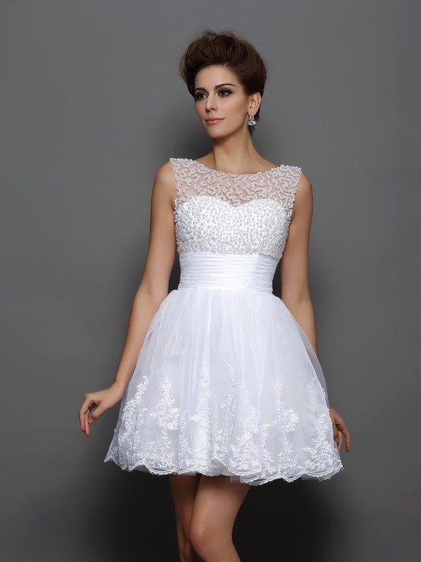 Elastic Woven Satin Bateau Short/Mini White Homecoming Dresses
