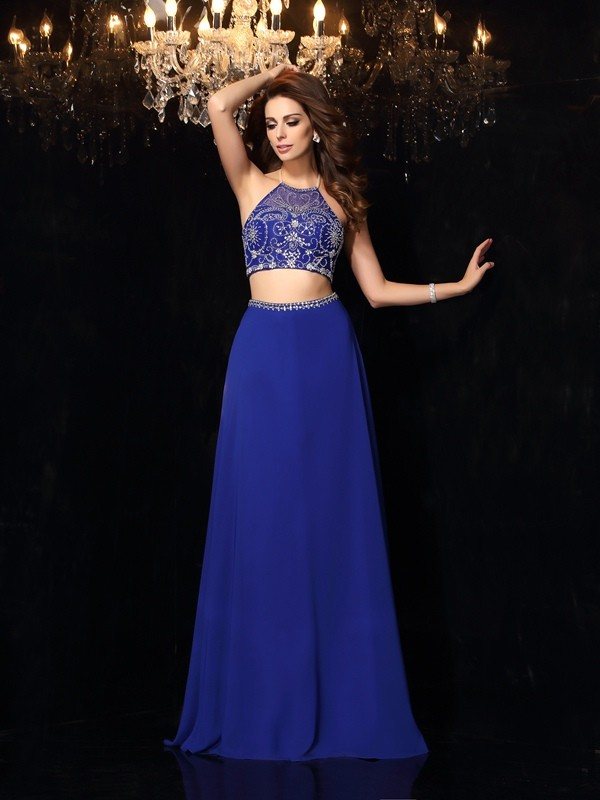 A-Line High Neck Brush Train Royal Blue Prom Dresses