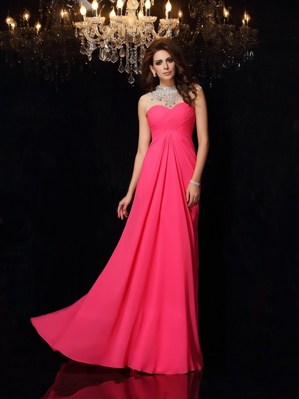 A-Line High Neck Brush Train Fuchsia Prom Dresses with Ruched