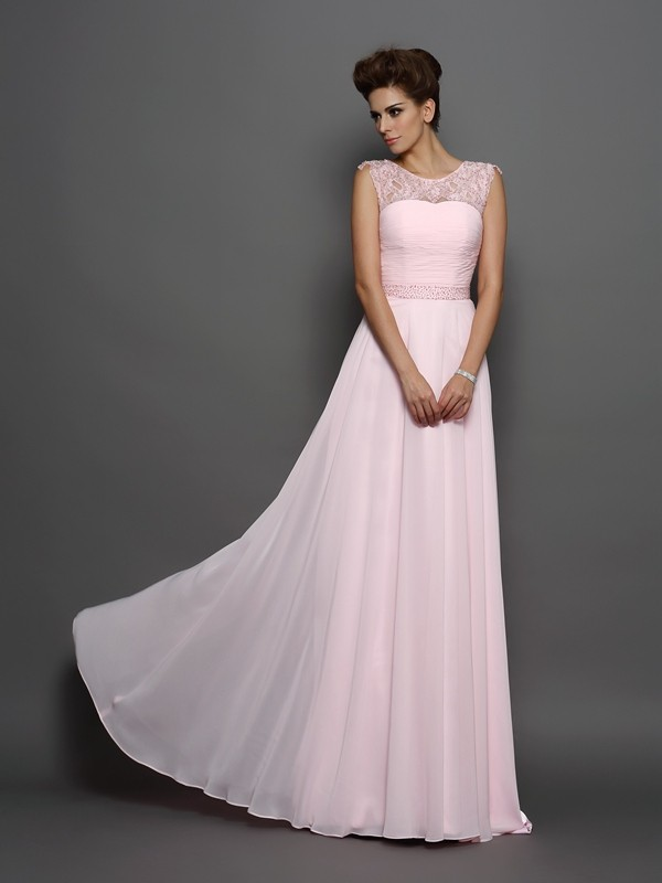 A-Line Chiffon Scoop Brush Train Prom Dresses with Beading