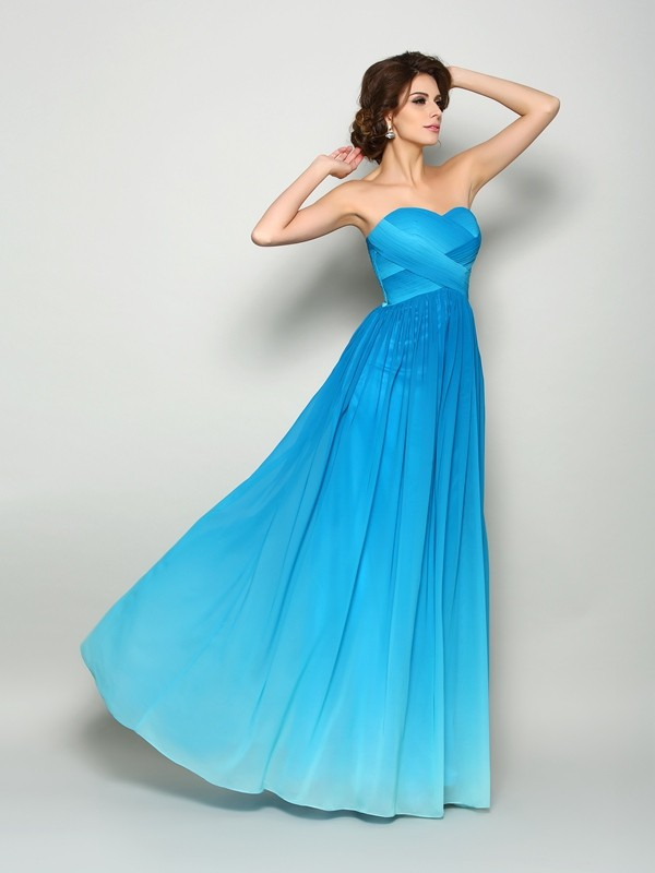A-Line Sweetheart Floor-Length Multi Colors Prom Dresses with Pleats