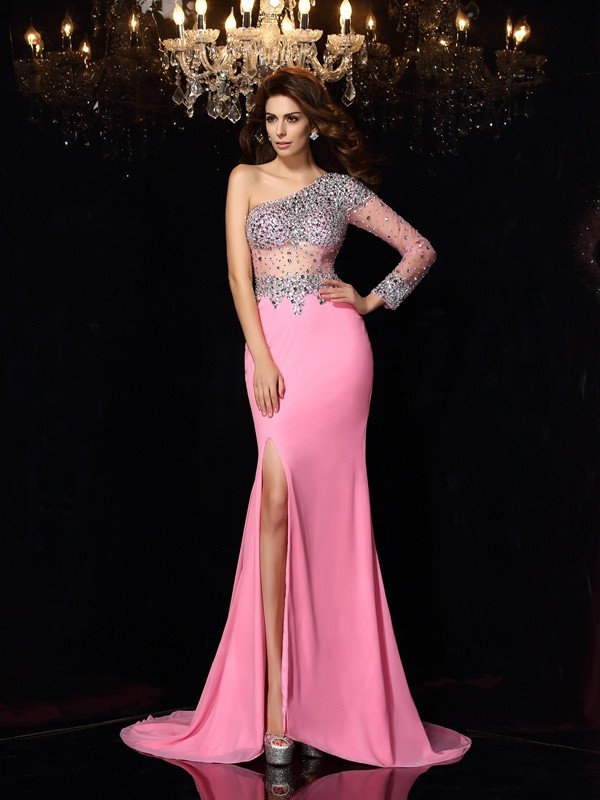 Sheath Chiffon Long Sleeves One-Shoulder Court Train Pink Prom Dresses