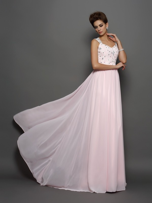 Chiffon Straps Brush Train Pearl Pink Prom Dresses