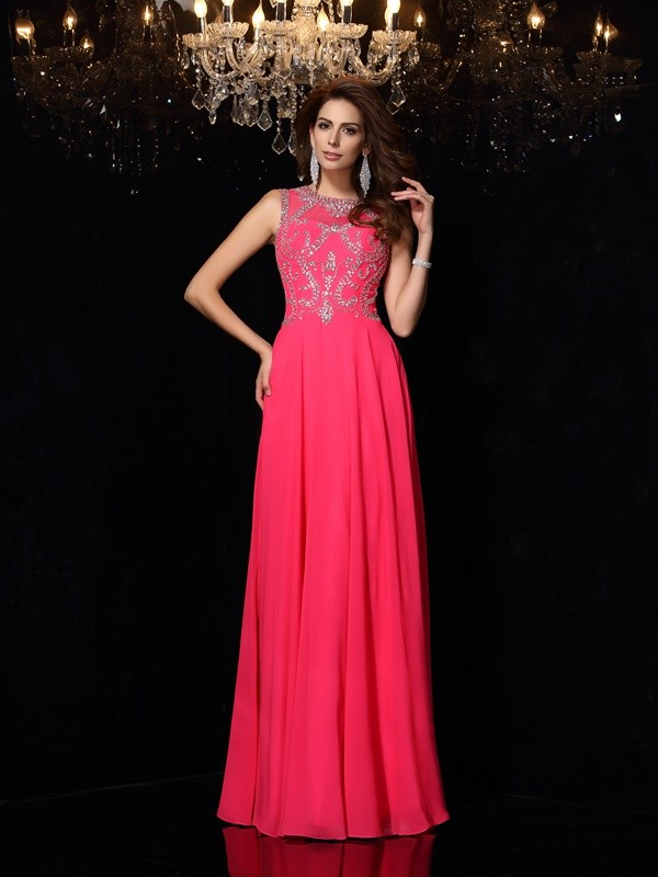 A-Line Scoop Floor-Length Fuchsia Prom Dresses