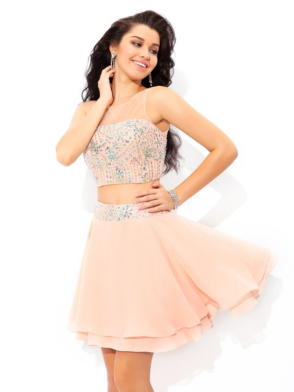 A-Line Sheer Neck Short/Mini Pink Homecoming Dresses