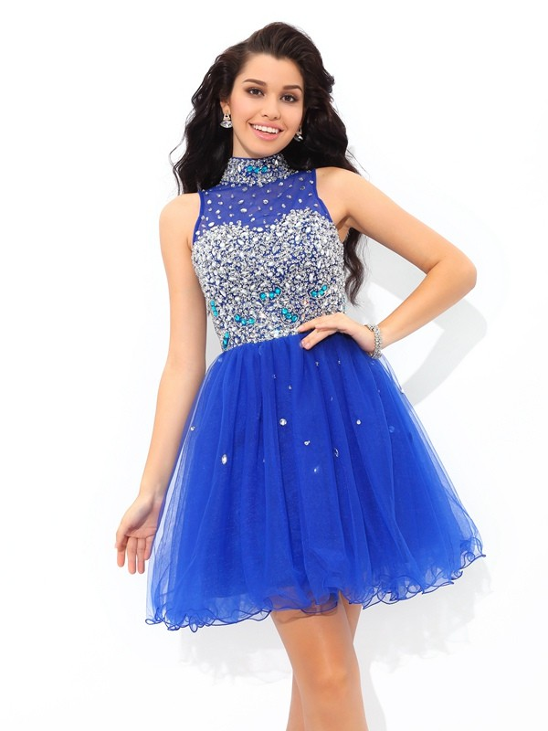 Net High Neck Short/Mini Royal Blue Homecoming Dresses