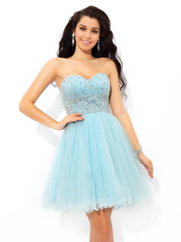 Blue Sweetheart Satin Short/Mini Homecoming Dresses