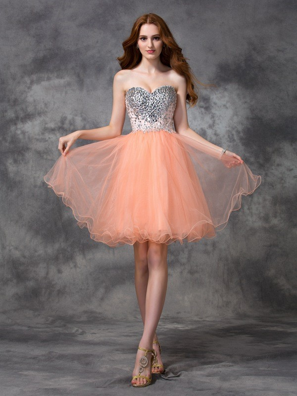 Spaghetti Straps Short/Mini Orange Homecoming Dresses with Beading