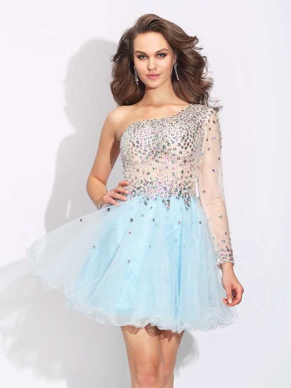 Elastic Woven Satin One-Shoulder Short/Mini Light Sky Blue Homecoming Dresses