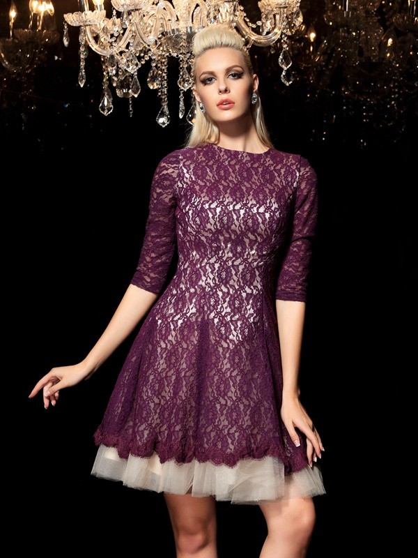 A-Line Sheer Neck Short/Mini Regency Homecoming Dresses