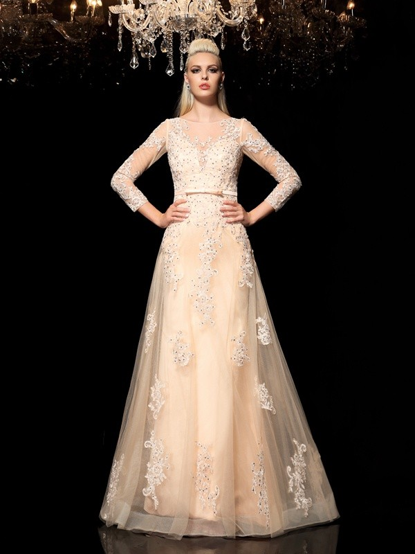 Long Sleeves A-Line Sheer Neck Floor-Length Champagne Prom Dresses