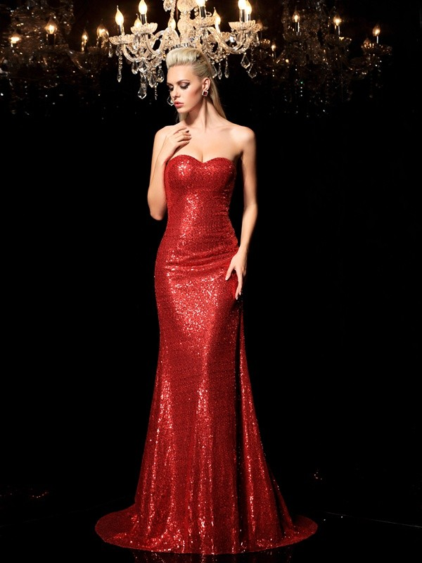 Red Sheath Sweetheart Brush Train Prom Dresses with Sequin