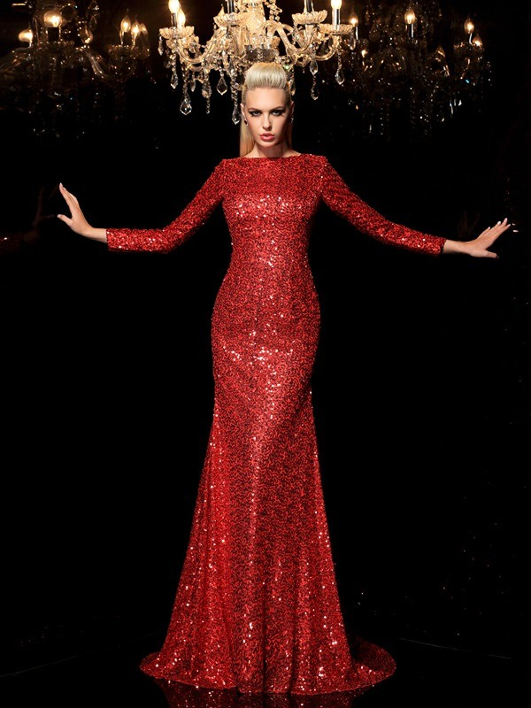 Long Sleeves Scoop Brush Train Red Prom Dresses with Sequin