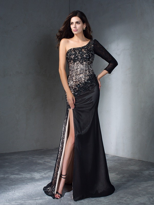 Mermaid One-Shoulder Brush Train Black Prom Dresses
