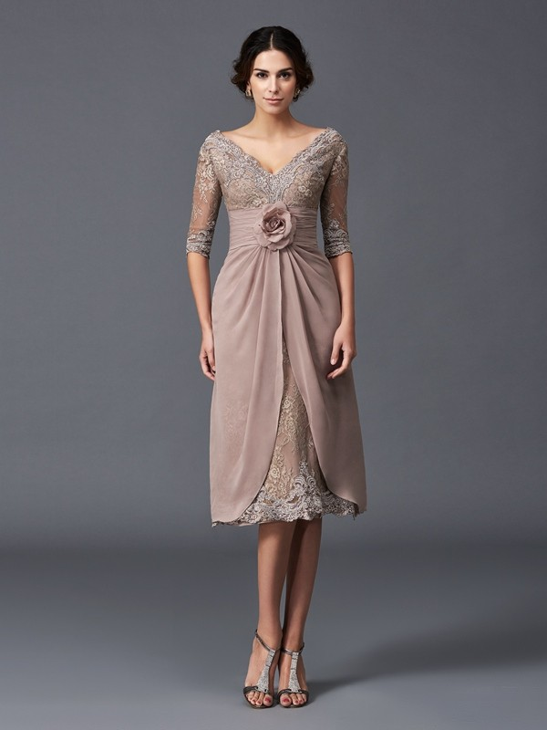 V-neck Tea-Length Brown Mother of the Bride Dresses