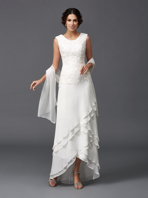 Chiffon Scoop Asymmetrical Ivory Mother of the Bride Dresses