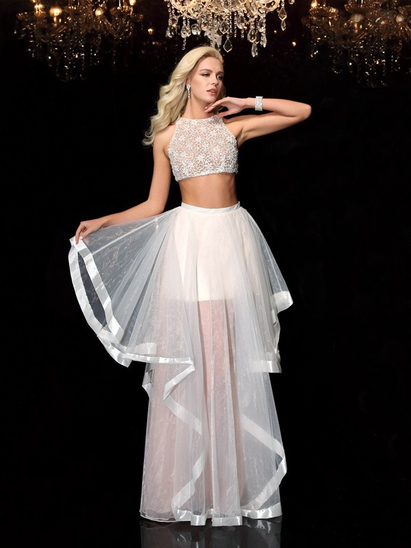A-Line Scoop Floor-Length Ivory Prom Dresses