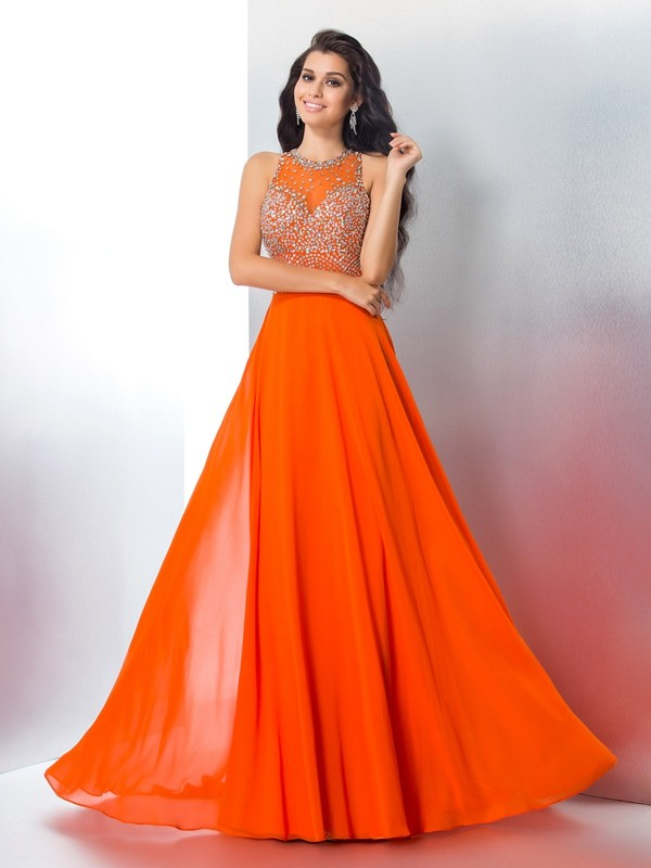 Chiffon Scoop Brush Train Orange Prom Dresses