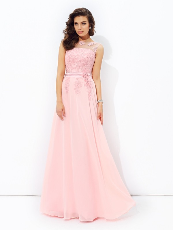 Floor-Length Pink Scoop Prom Dresses with Applique