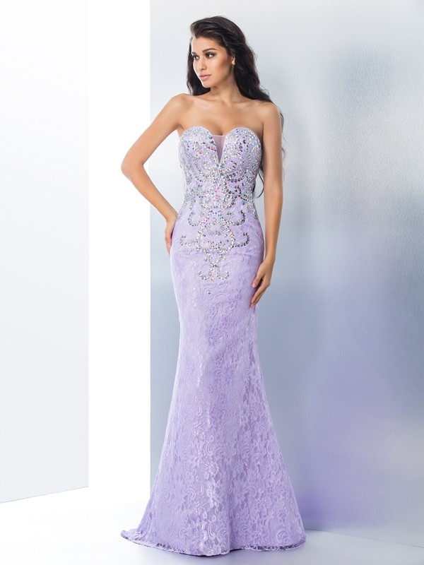 Brush Train Lavender Sweetheart Prom Dresses with Beading