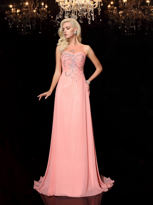 A-Line Scoop Floor-Length Watermelon Prom Dresses with Beading