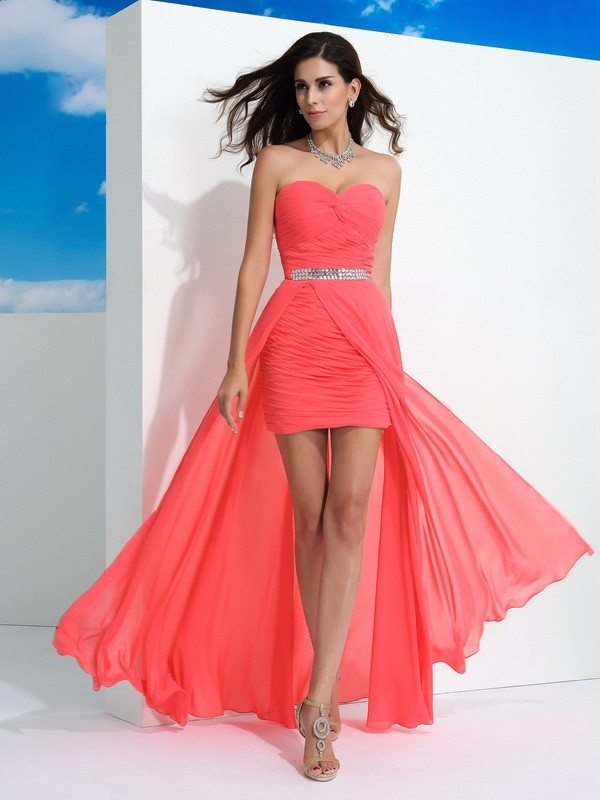 Watermelon Sheath Sweetheart Floor-Length Prom Dresses with Pleats