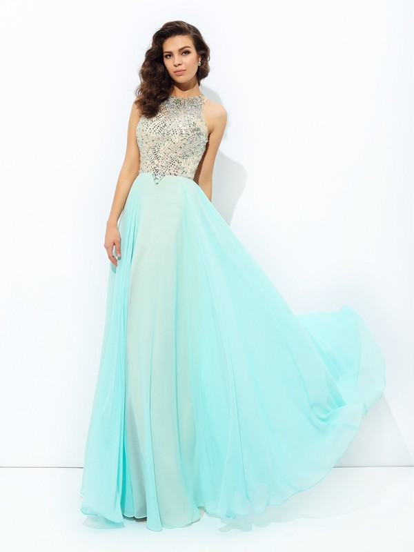 Jewel Floor-Length Light Sky Blue Prom Dresses with Beading
