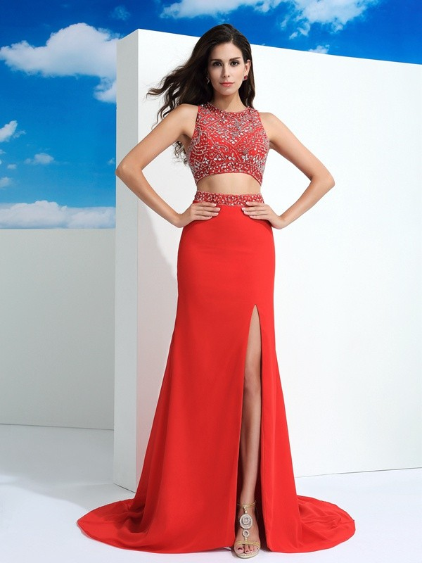 Sheath Scoop Court Train Red Prom Dresses
