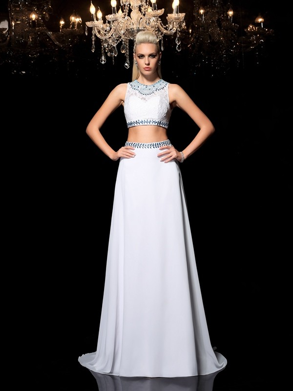 Chiffon A-Line Floor-Length Jewel White Prom Dresses