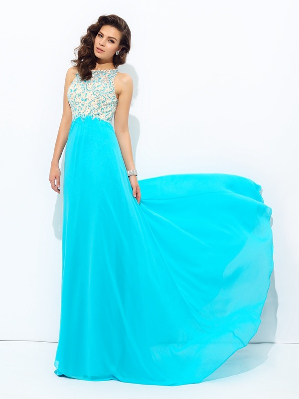 A-Line Scoop Floor-Length Blue Prom Dresses with Beading