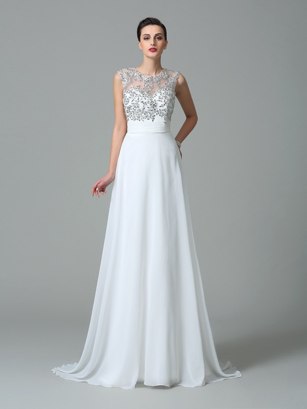 Chiffon Jewel Brush Train White Prom Dresses
