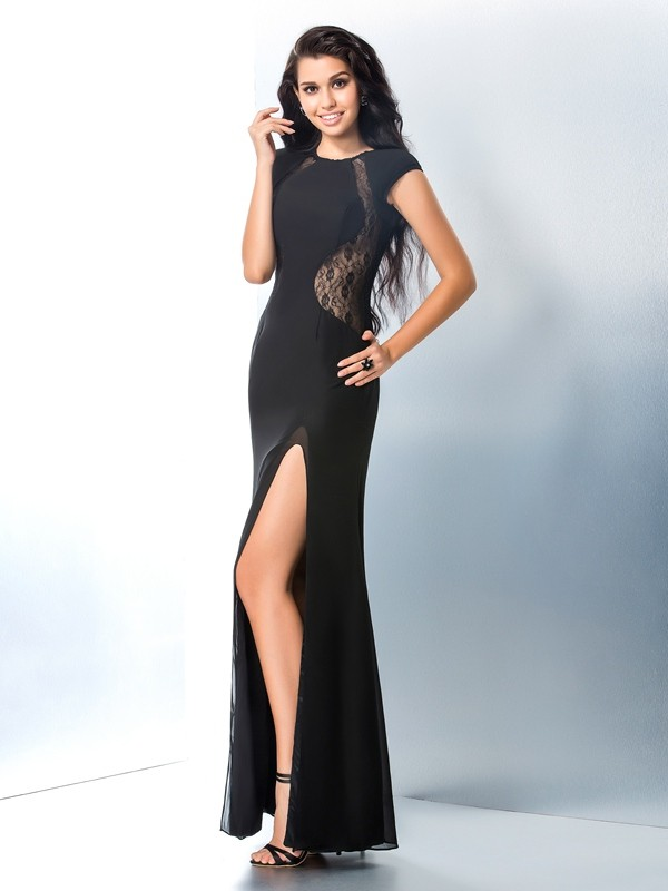 Chiffon Mermaid Ankle-Length Short Sleeves Scoop Black Prom Dresses