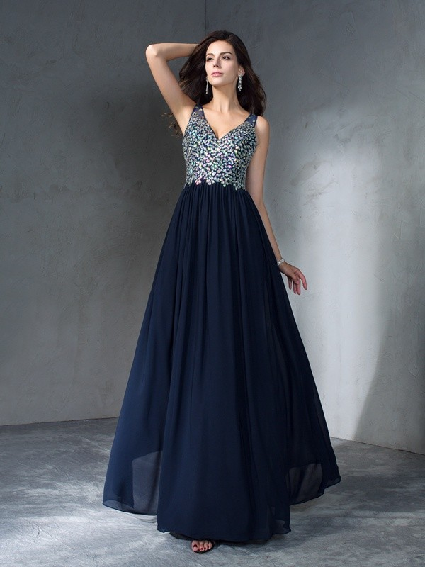 Chiffon V-neck Floor-Length Dark Navy Prom Dresses