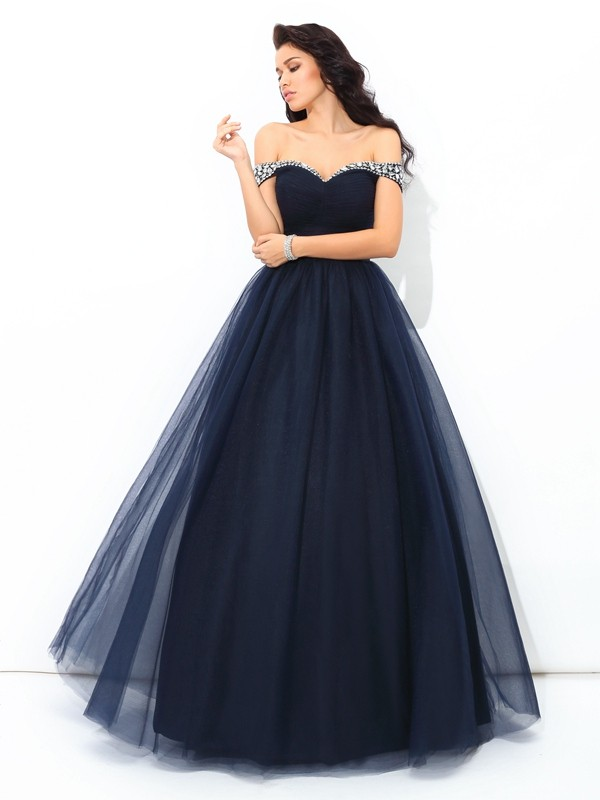 Ball Gown Net Off-the-Shoulder Floor-Length Dark Navy Prom Dresses
