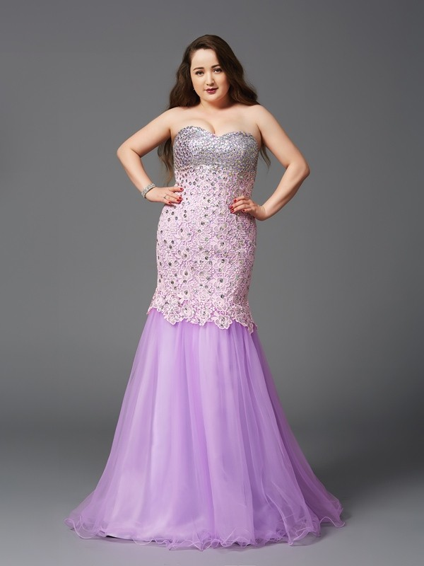 Mermaid Sweetheart Brush Train Lilac Prom Dresses