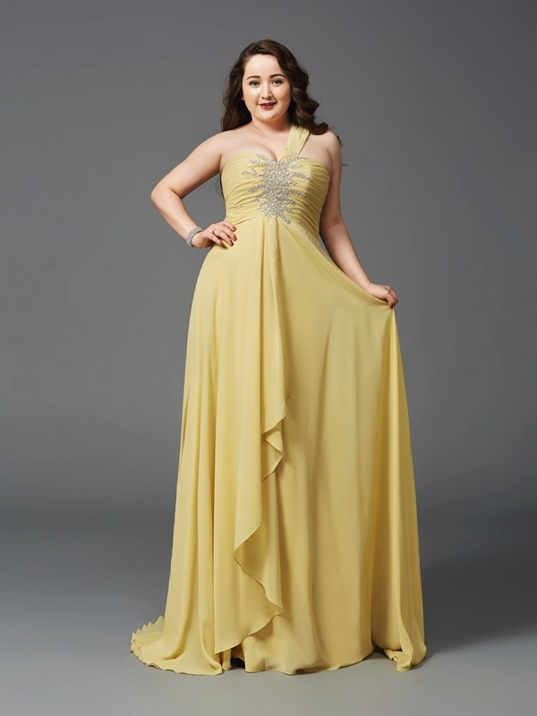 Chiffon One-Shoulder Brush Train Daffodil Prom Dresses