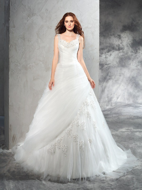Court Train Ivory Straps Wedding Dresses with Applique