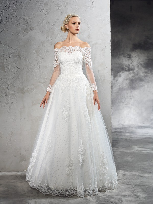 Ivory Off-the-Shoulder Net Floor-Length Wedding Dresses