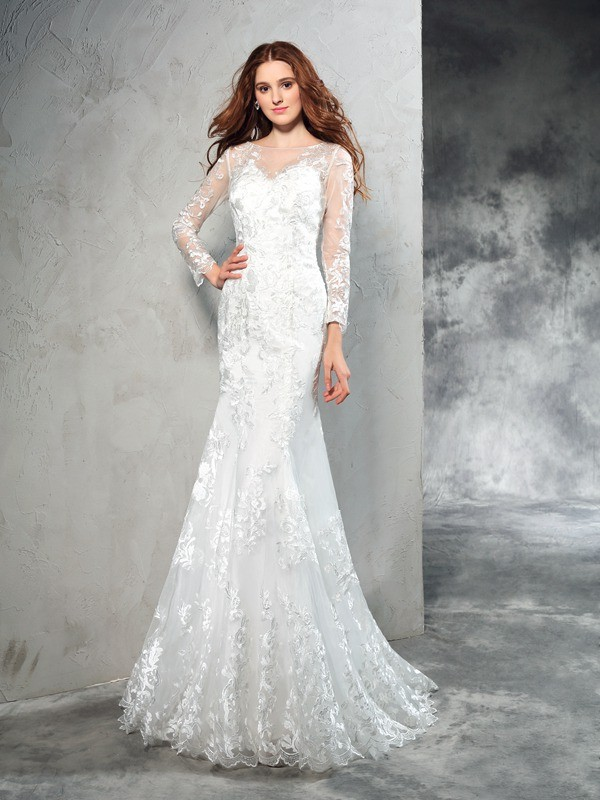 Net Sheer Neck Brush Train Ivory Wedding Dresses