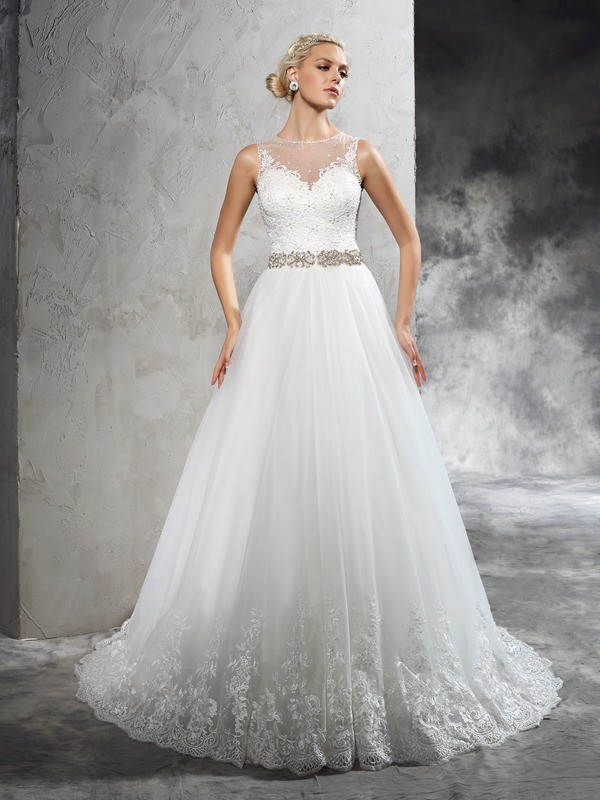 A-Line Sheer Neck Court Train Ivory Wedding Dresses