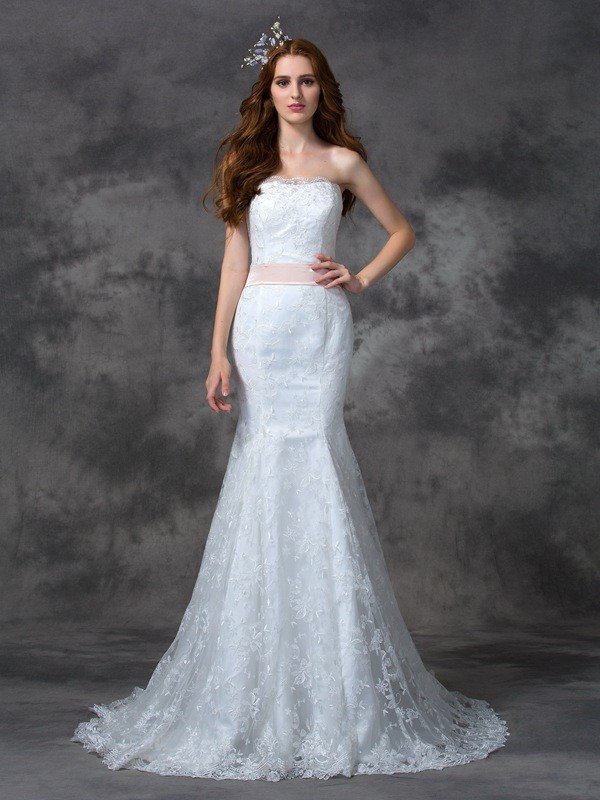 Mermaid Strapless Court Train White Wedding Dresses with Sash/Ribbon/Belt
