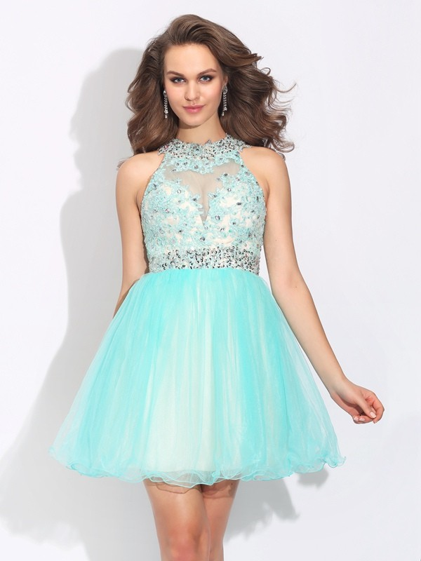 A-Line High Neck Short/Mini Light Sky Blue Homecoming Dresses