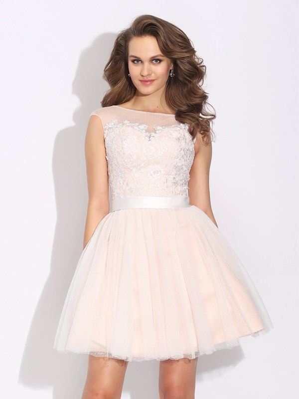 Net Bateau Short/Mini Pearl Pink Homecoming Dresses