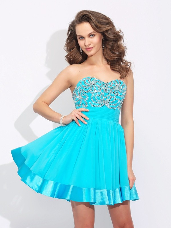 A-Line Sweetheart Short/Mini Blue Homecoming Dresses