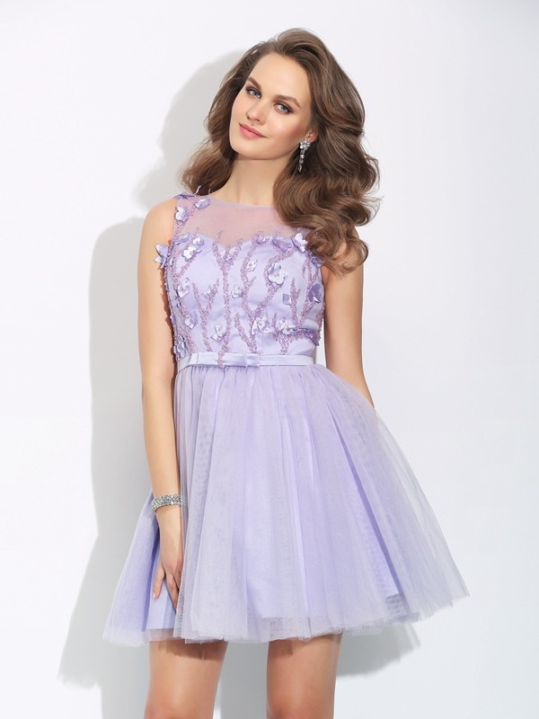 Short/Mini Lavender Bateau Homecoming Dresses with Applique