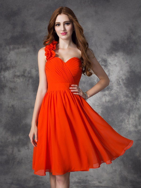Short/Mini Red One-Shoulder Homecoming Dresses