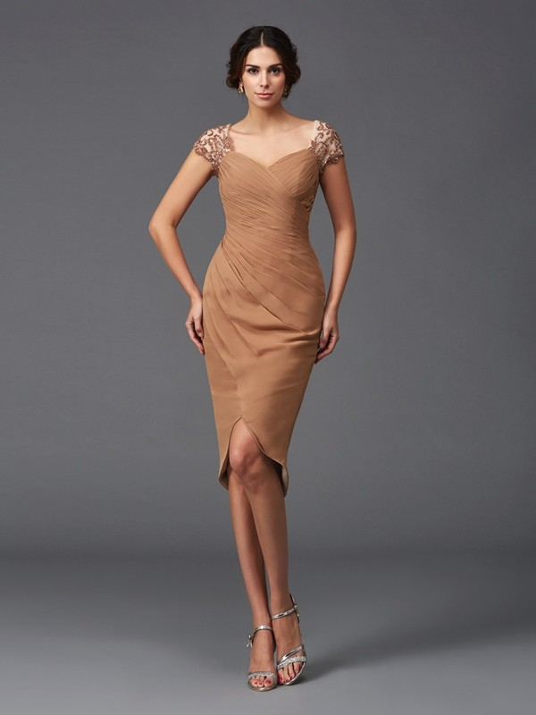 Brown Sweetheart Chiffon Asymmetrical Homecoming Dresses