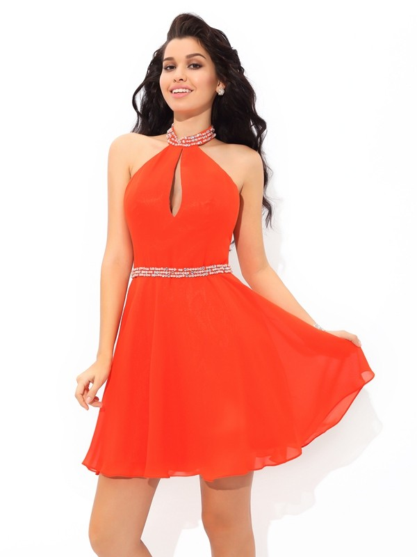 A-Line Halter Short/Mini Orange Homecoming Dresses with Beading