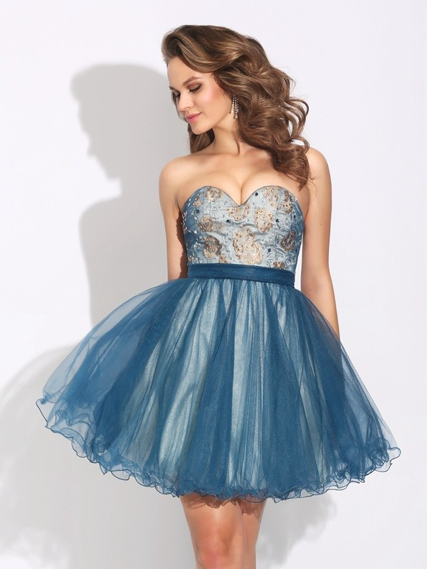 A-Line Net Sweetheart Short/Mini Dark Navy Homecoming Dresses