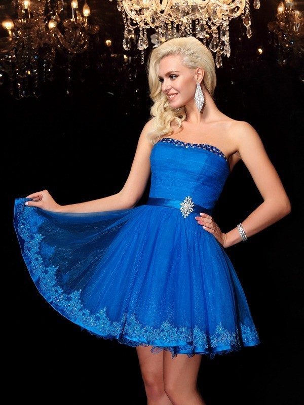 Royal Blue Strapless Net Short/Mini Homecoming Dresses